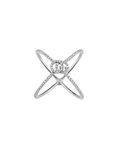 18k White Gold GG Running X All-Diamond Ring  Size 6.25