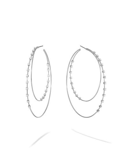 LANA 14k White Gold Solo Diamond Double Hoop Earrings, 65mm