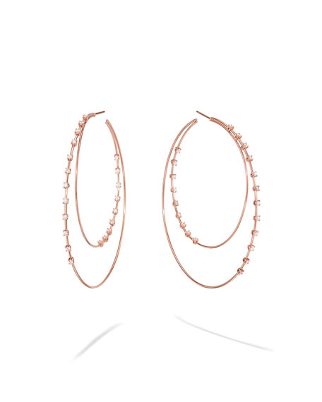 LANA 14k Rose Gold Solo Diamond Double Hoop Earrings, 65mm