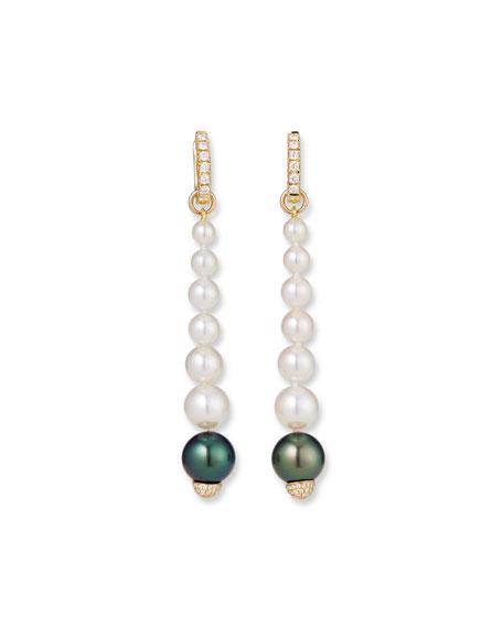 Belpearl 18k Elegant Dangling Diamond Pearl Earrings