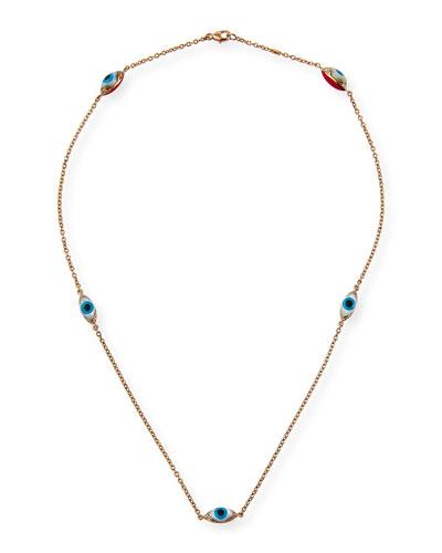 18k Rose Gold Evil Eye 5-Station Necklace