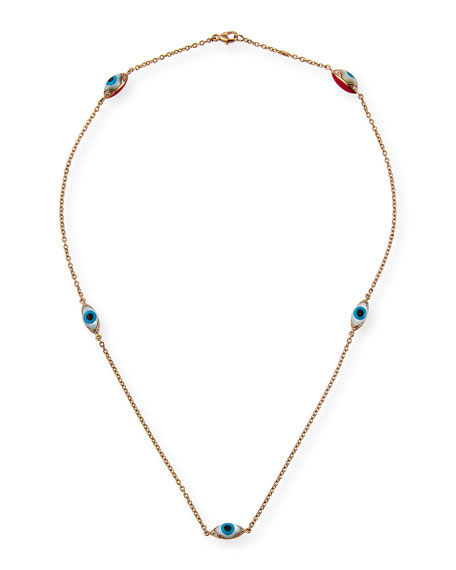 Etho Maria 18k Rose Gold Evil Eye 5-Station Necklace