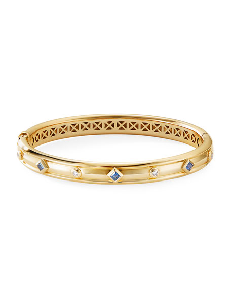 Image 2 of 2: David Yurman Modern Renaissance 18k Diamond & Blue Sapphire Bracelet, Size L