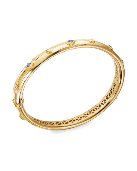 Image 1 of 2: David Yurman Modern Renaissance 18k Diamond & Blue Sapphire Bracelet, Size L