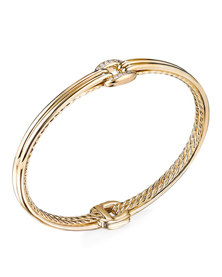 Image 1 of 2: David Yurman Thoroughbred 18k Center-Link Diamond Bracelet, Size M