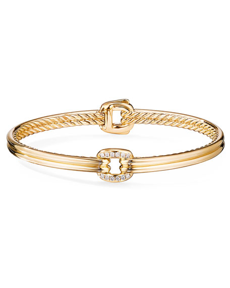Image 2 of 2: David Yurman Thoroughbred 18k Center-Link Diamond Bracelet, Size S