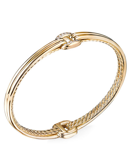 Image 1 of 2: David Yurman Thoroughbred 18k Center-Link Diamond Bracelet, Size S