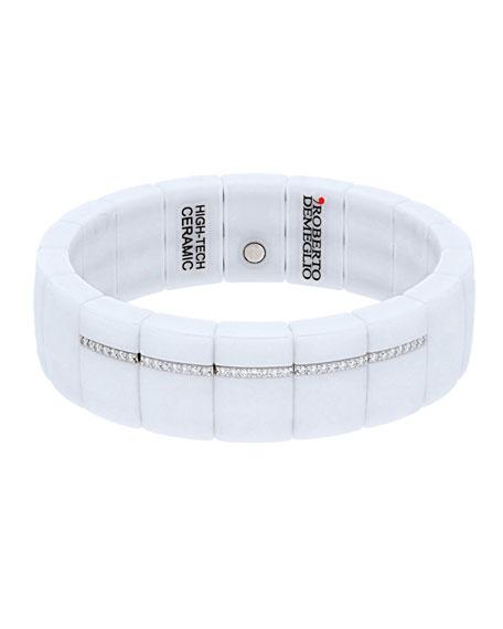 Roberto Demeglio DOMINO 18k White Gold White Ceramic Diamond Pave Stretch Bracelet