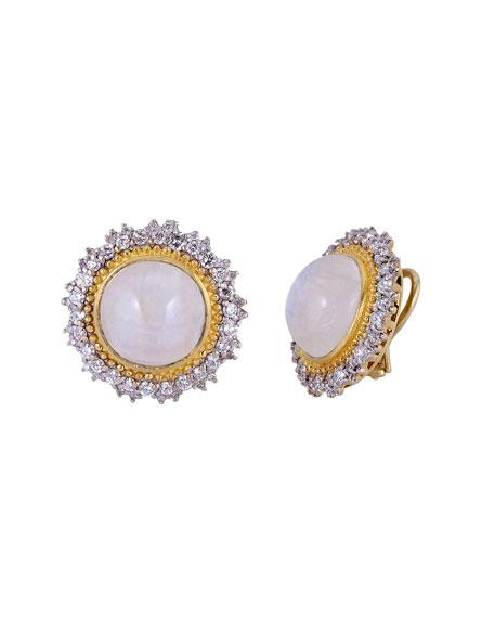 Tanya Farah 18K Modern Etruscan Moonstone Diamond Sunburst Earrings