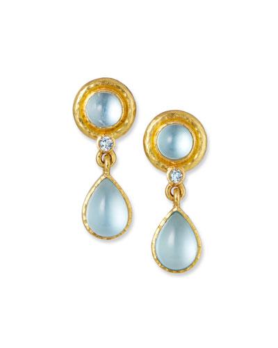 19k Aquamarine Pear-Drop Earrings