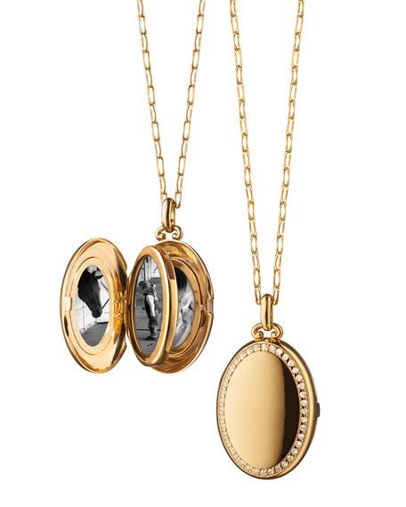 Monica Rich Kosann 18k Yellow Gold Midi Diamond 4-Image Locket Necklace