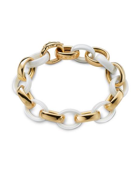 Monica Rich Kosann 18k Gold White Ceramic Chain Bracelet