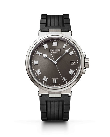 Breguet 40mm Marine Titanium Date Watch w/ Rubber Strap, Brown