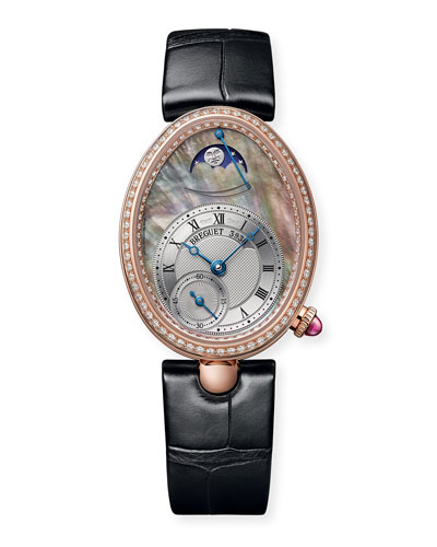 18k Rose Gold Moon Phase Diamond Watch w/ Alligator Strap  Champagne