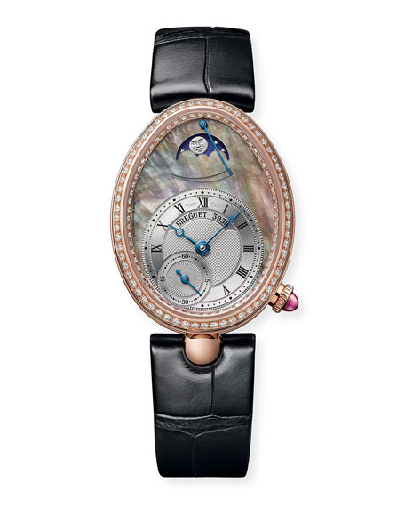 Breguet 18k Rose Gold Moon Phase Diamond Watch w/ Alligator Strap, Champagne