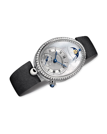 Image 2 of 2: Breguet 18k White Gold Moon Phase Diamond Watch w/ Leather Strap