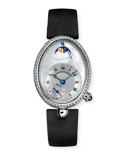 18k White Gold Moon Phase Diamond Watch w/ Leather Strap