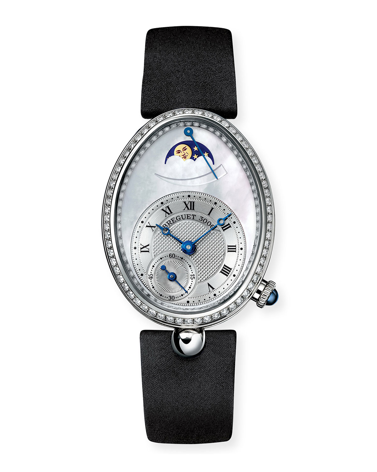 Breguet 18k White Gold Moon Phase Diamond Watch w/ Leather Strap