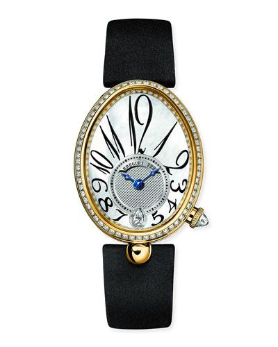 18k Yellow Gold Diamond-Bezel Watch w/ Leather Strap