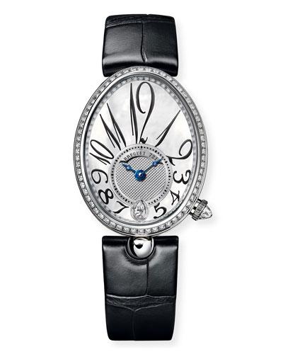 18k White Gold Diamond-Bezel Watch w/ Alligator Strap
