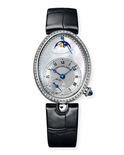 18k White Gold Moon Phase Diamond Watch w/ Alligator Strap