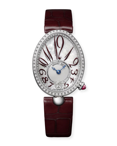 18k White Gold Diamond-Bezel Watch w/ Red Alligator Strap