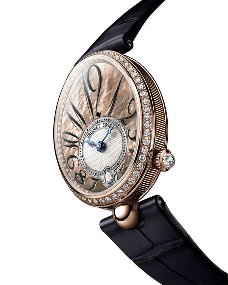 Image 2 of 2: Breguet 18k Rose Gold Diamond-Bezel Watch w/ Alligator Strap, Champagne