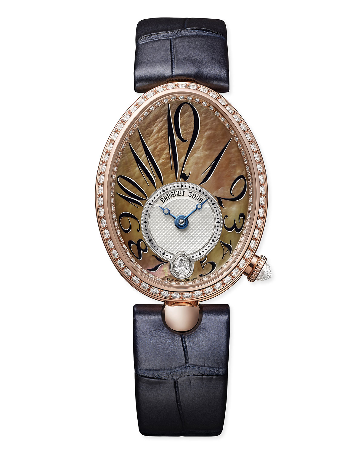 Breguet 18k Rose Gold Diamond-Bezel Watch w/ Alligator Strap, Champagne