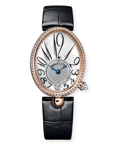 18k Rose Gold Diamond-Bezel Watch w/ Alligator Strap