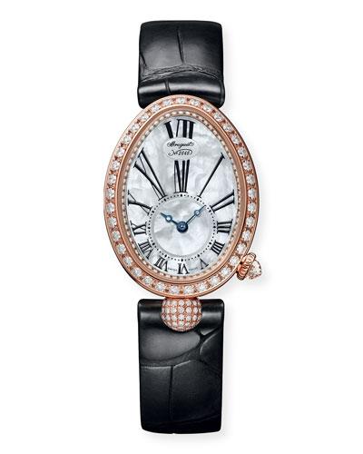 18k Rose Gold Diamond Jewelry Watch w/ Alligator Strap