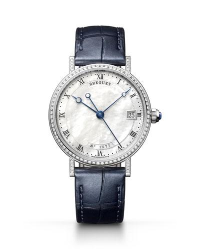 Classique 33.5mm 18k White Gold Diamond Watch w/ Alligator Strap