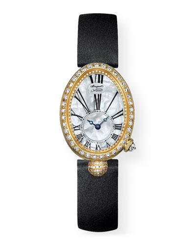 18k Yellow Gold Diamond Jewelry Watch w/ Leather Strap