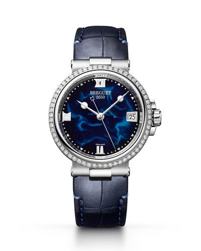 La Marine 33.8mm Diamond Blue Lacquer Watch w/ Alligator Strap