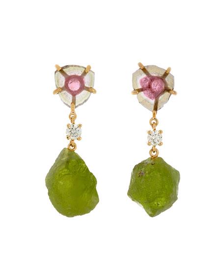 Jan Leslie 18K Bespoke 2-Tier Tribal Luxury Earrings w/ Pink Tourmaline, Peridot & Diamonds