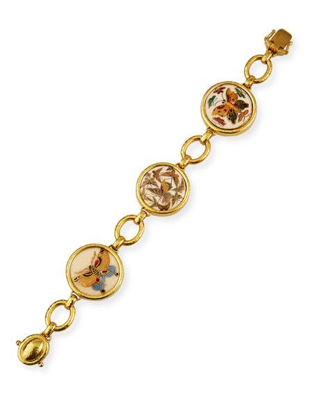 Elizabeth Locke 19k Satsuma Button Flock of Butterflies Link Bracelet