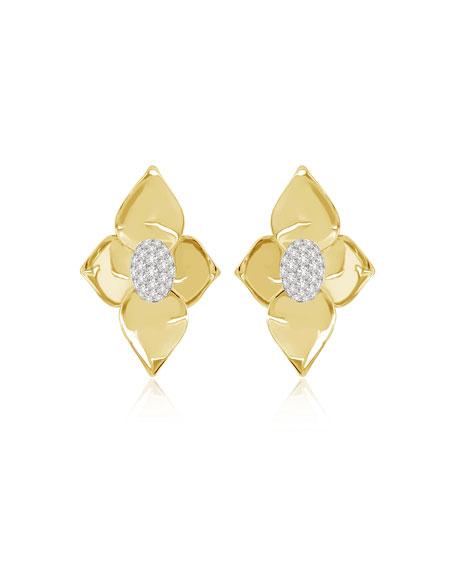 SUTRA 18K Yellow Gold Diamond Lotus Stud Earrings