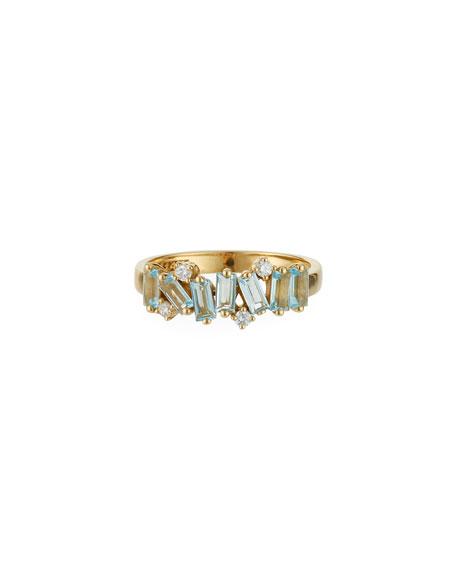 KALAN by Suzanne Kalan Amalfi 14k Diamond-Round Blue Topaz Ring, Size 6