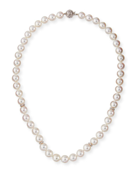 Belpearl 18k White Gold Akoya Pearl-Strand Necklace w/ Diamonds