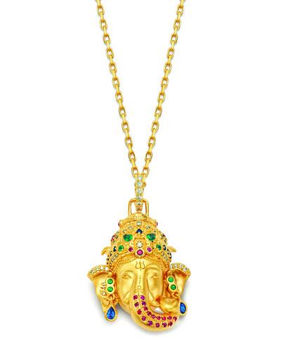 20k Ganesha Multi-Stone Pendant