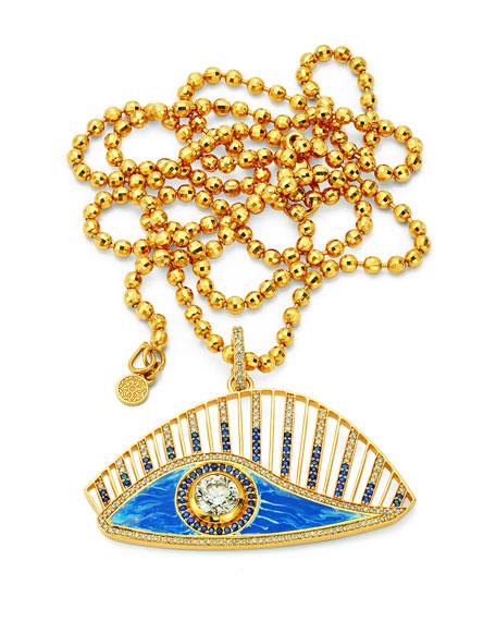 Buddha Mama 20k Tie Dye Evil Eye Diamond & Sapphire Pendant