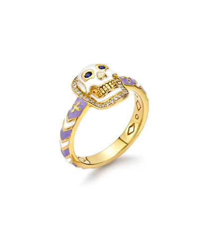 20k Skinny Enamel Diamond Skull Band Ring  Size 6.5
