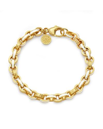 20k White Enamel Link Bracelet