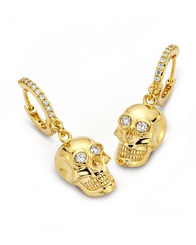 20k Small Diamond Skull Earrings