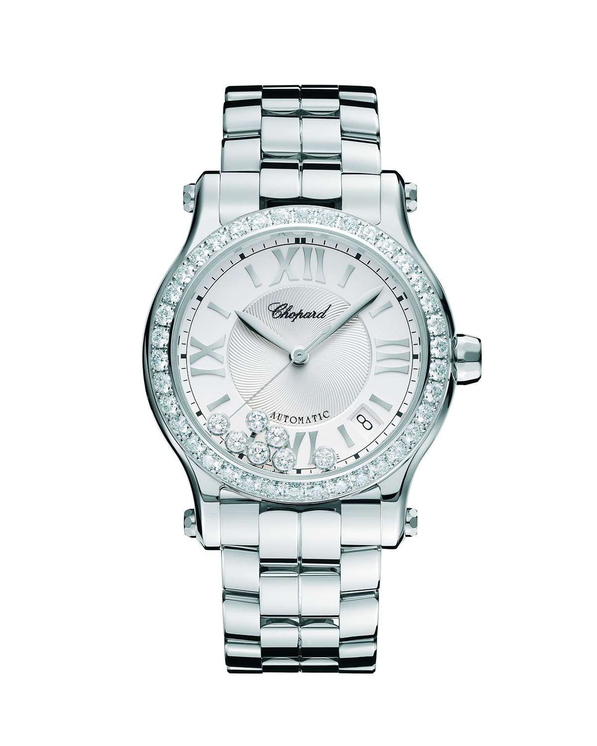 Chopard Happy Sport Diamond-Bezel Watch w/ Bracelet Strap