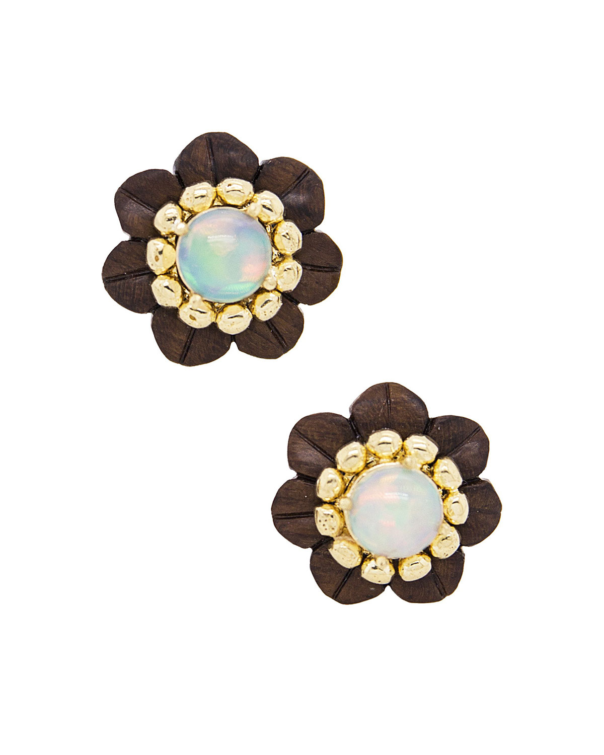 Silvia Furmanovich Sculptural Botanical Marquetry Stud Earrings
