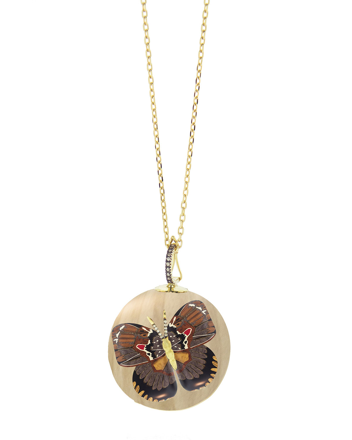 Silvia Furmanovich 18k Marquetry Diamond Butterfly Ball Necklace