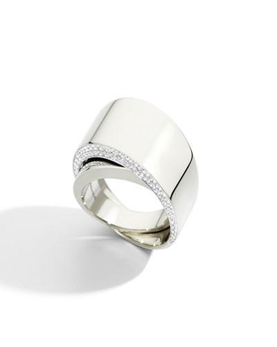 Tourbillon 18k White Gold Diamond-Trim Ring  Size 6