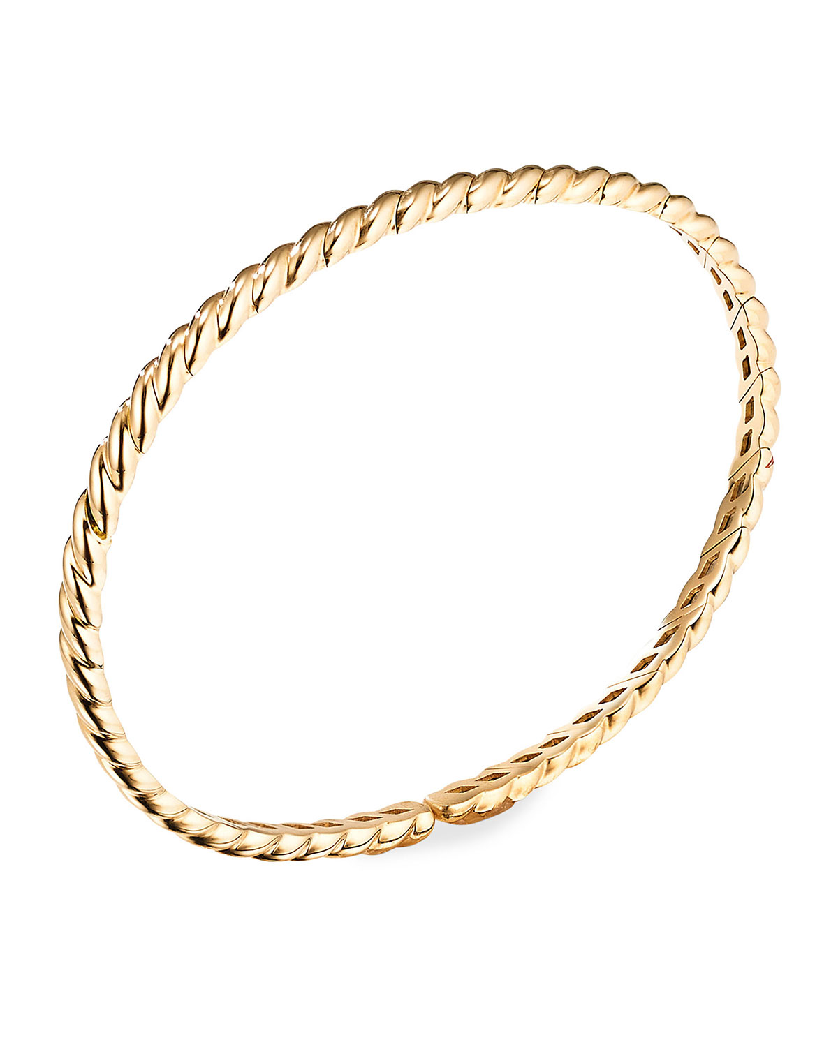 David Yurman 3.5mm Paveflex 18K Gold Cable Bracelet, Size S
