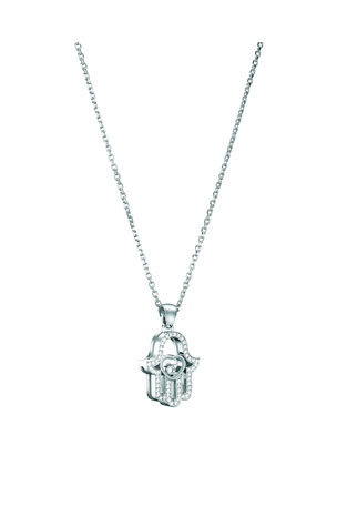 Chopard 18k White Gold Diamond Hamsa Pendant Necklace