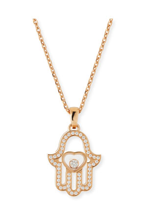 Chopard 18k Rose Gold Diamond Hamsa Pendant Necklace